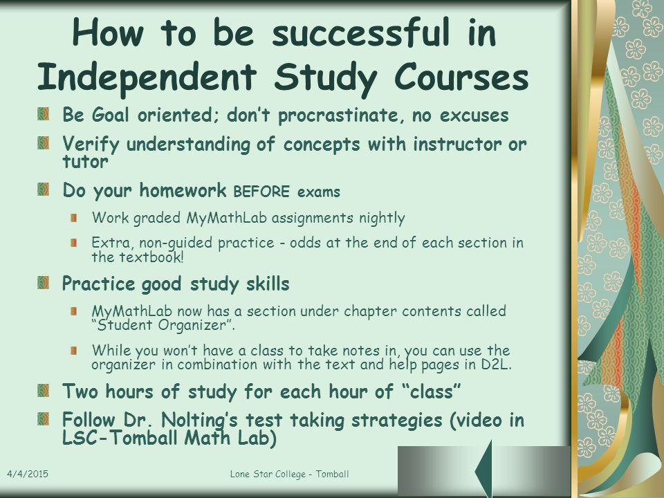 Welcome To LSC-Tomball Independent Study Math Course - ppt ...