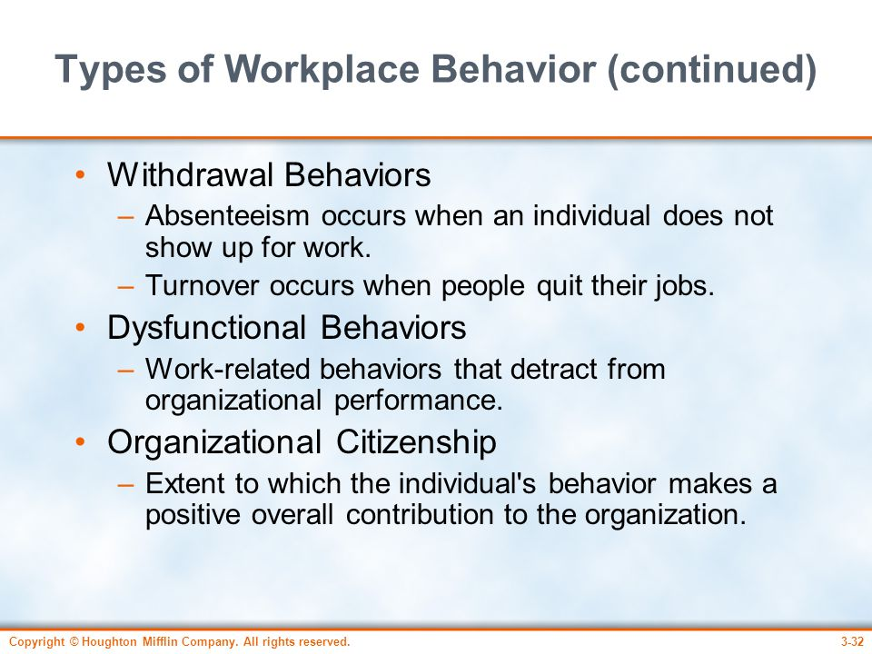 Types of Workplace Behavior (continued)