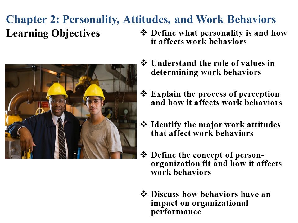 Chapter 2: Personality, Attitudes, and Work Behaviors Learning Objectives