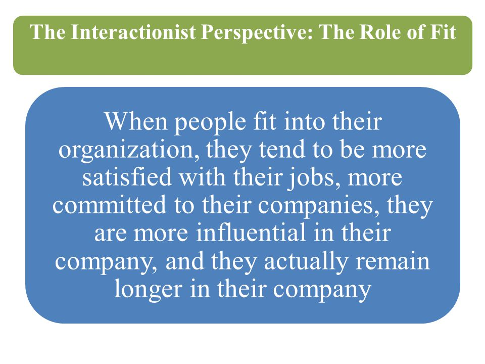 The Interactionist Perspective: The Role of Fit