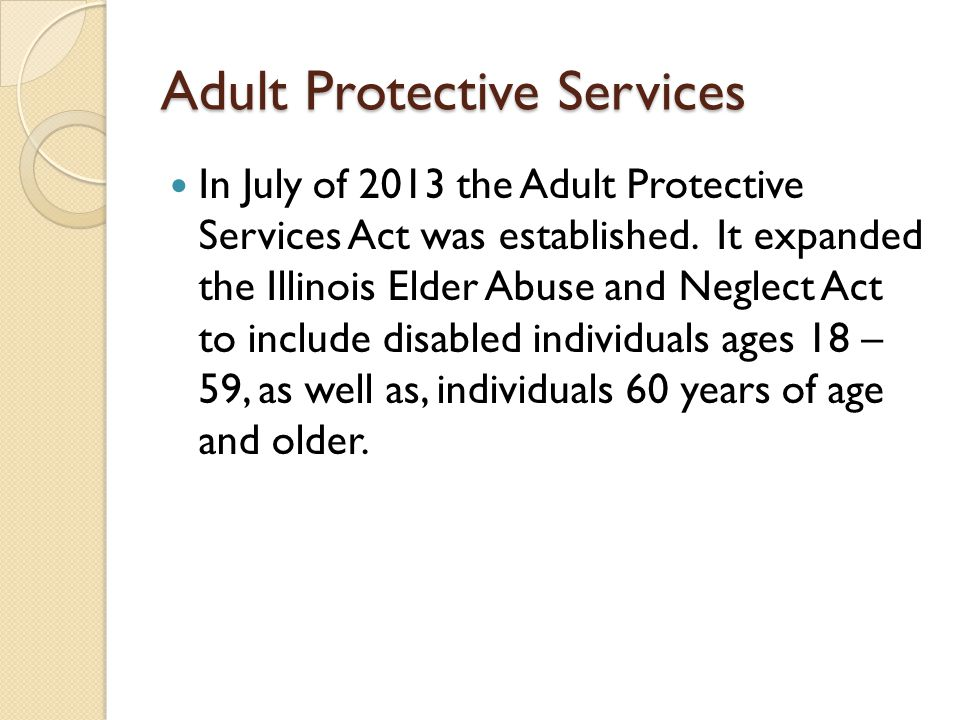 Share Older adult protective services act