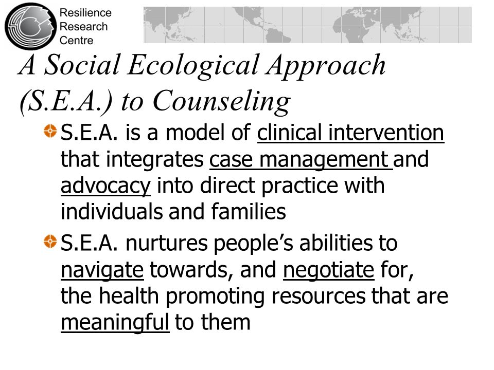 A Social Ecological Approach (S.E.A.) to Counseling