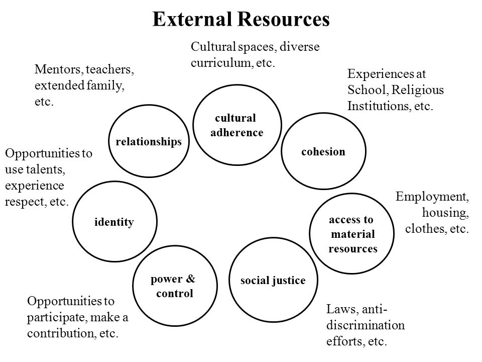 External Resources Cultural spaces, diverse curriculum, etc.