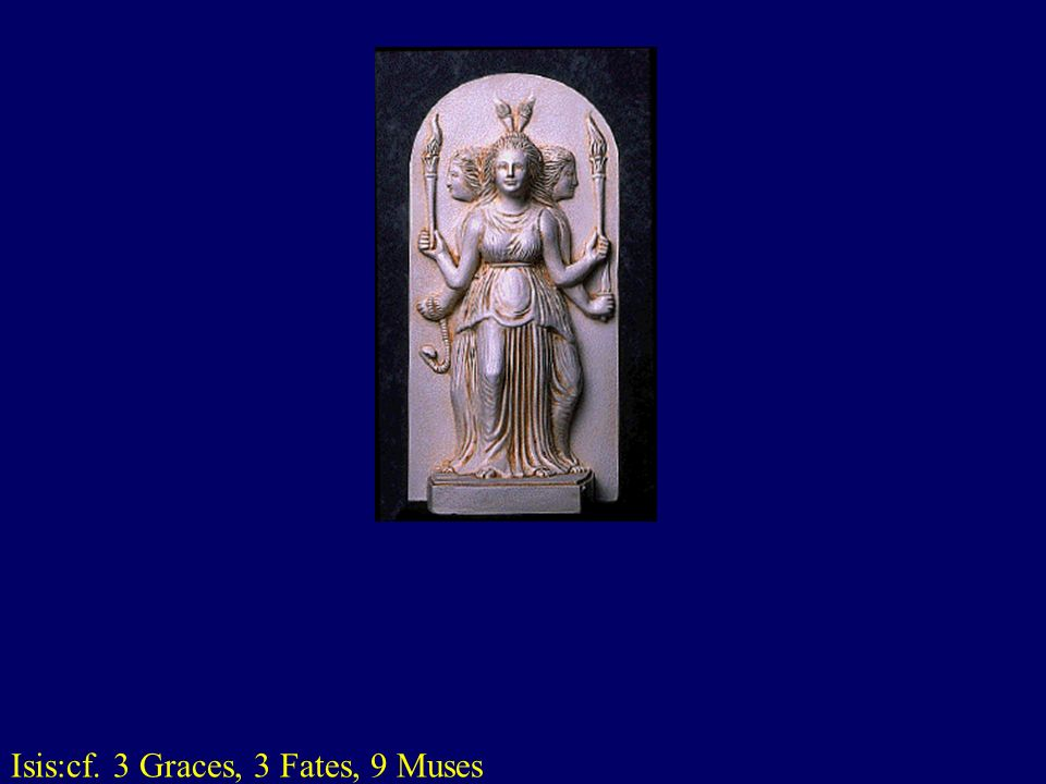 Isis:cf. 3 Graces, 3 Fates, 9 Muses