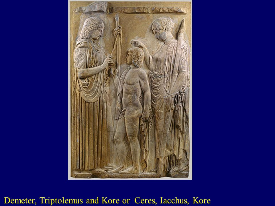 Demeter, Triptolemus and Kore or Ceres, Iacchus, Kore