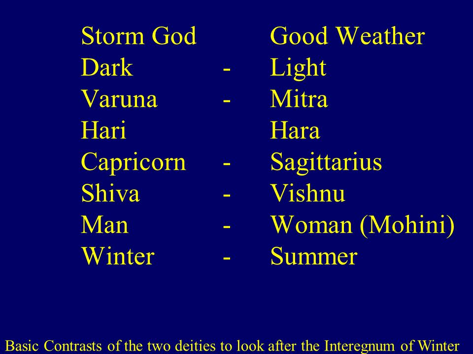 Storm God. Good Weather Dark. -. Light Varuna. -. Mitra Hari