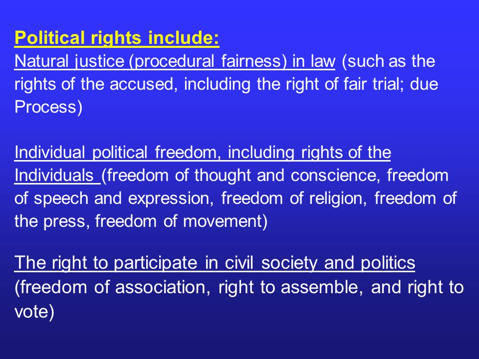Political rights include: