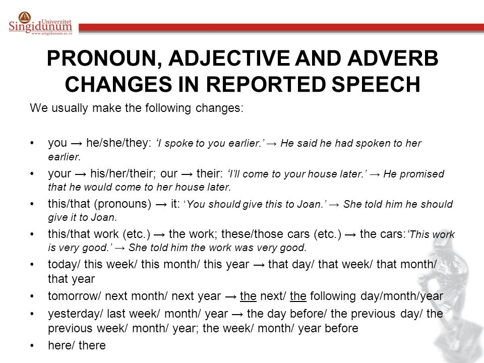 PRONOUN, ADJECTIVE AND ADVERB CHANGES IN REPORTED SPEECH
