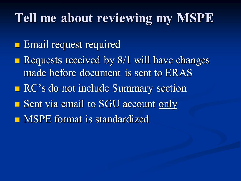 Tell me about reviewing my MSPE