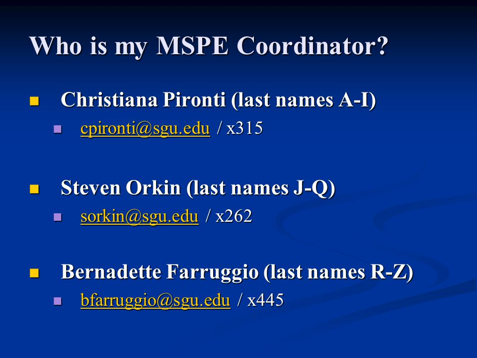 Who is my MSPE Coordinator