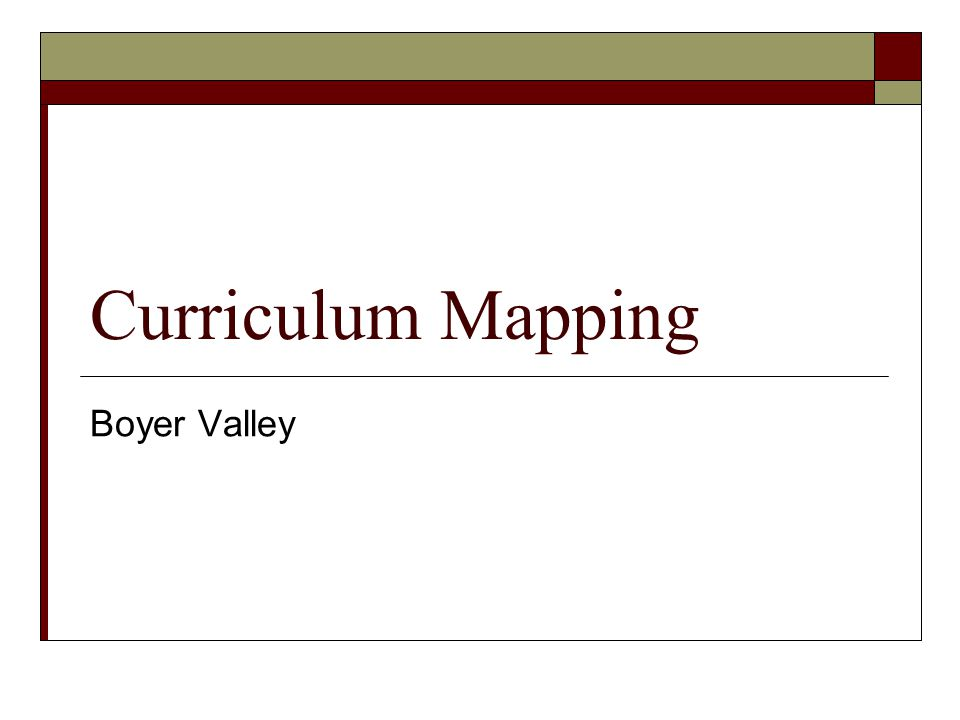 Curriculum Mapping Boyer Valley
