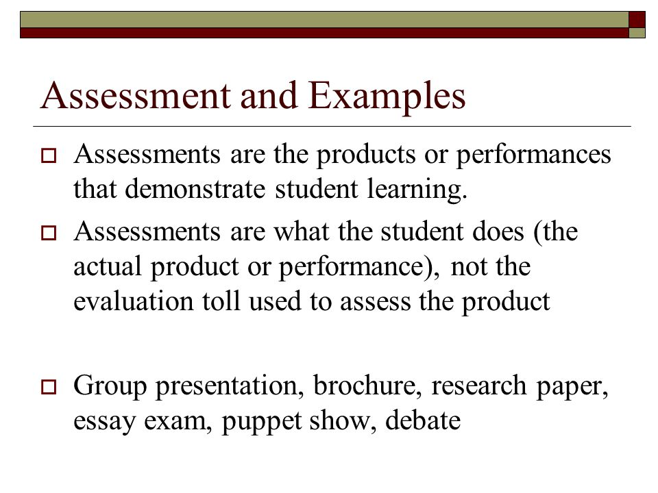 Assessment and Examples