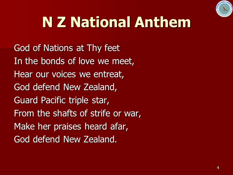 N Z National Anthem God of Nations at Thy feet