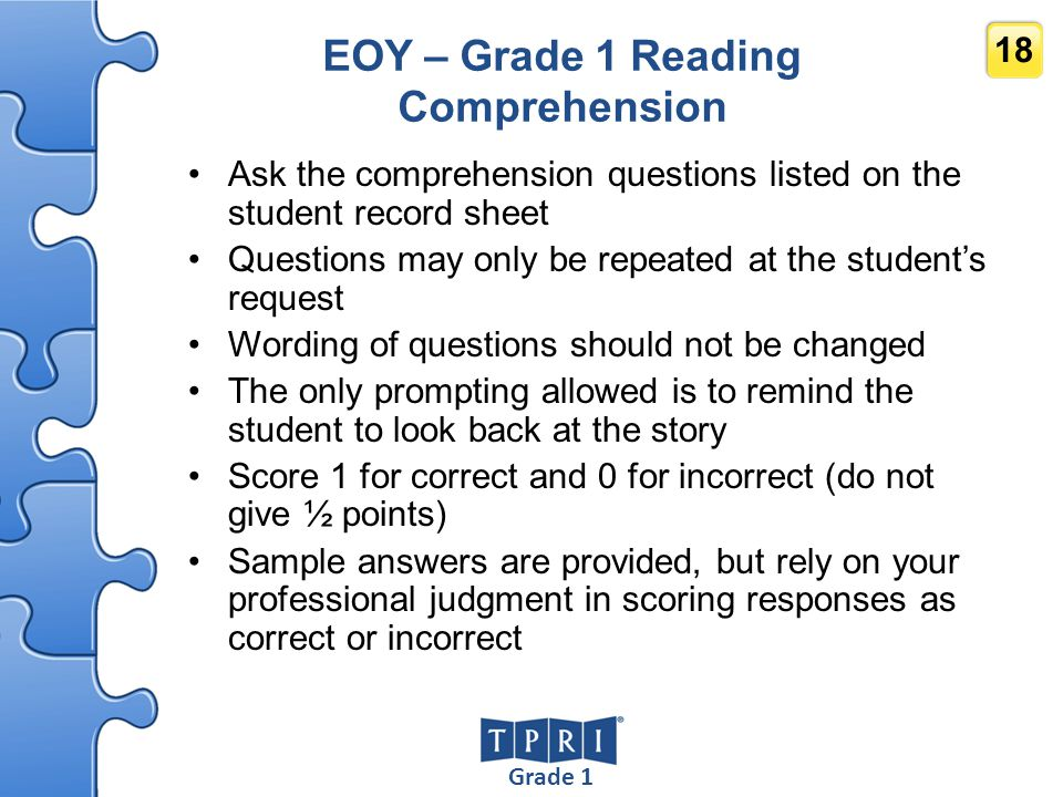 EOY – Grade 1 Reading Comprehension