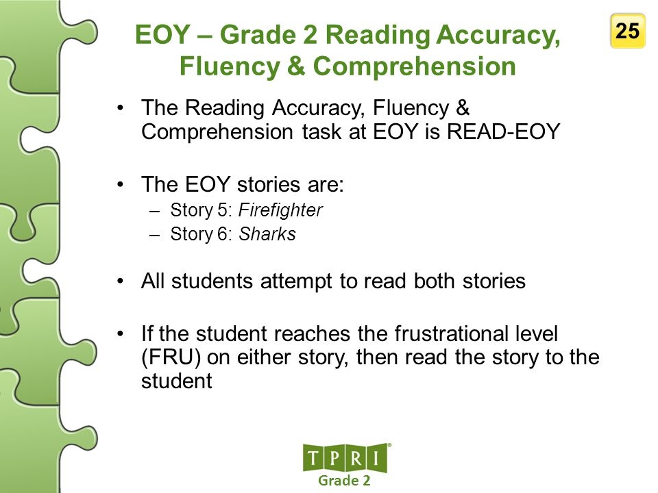 EOY – Grade 2 Reading Accuracy, Fluency & Comprehension