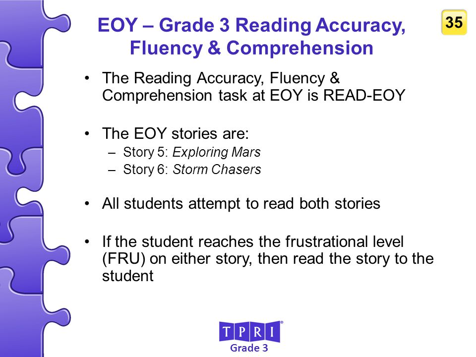EOY – Grade 3 Reading Accuracy, Fluency & Comprehension