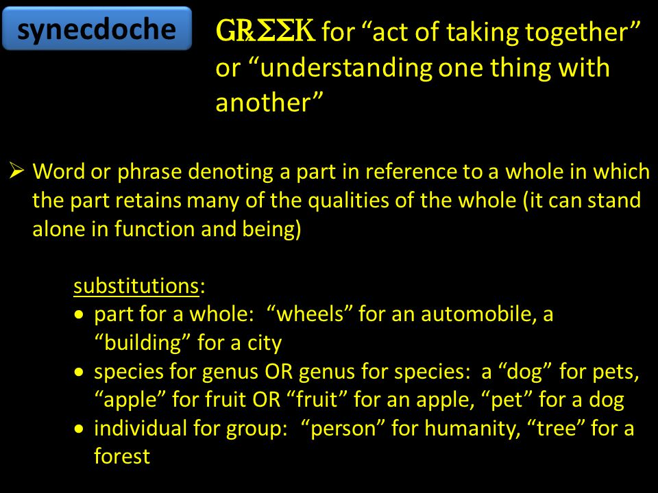 synecdoche Greek for act of taking together or understanding one thing with another