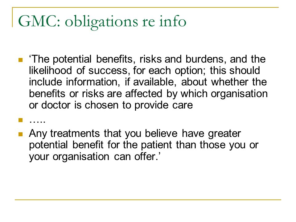 GMC: obligations re info
