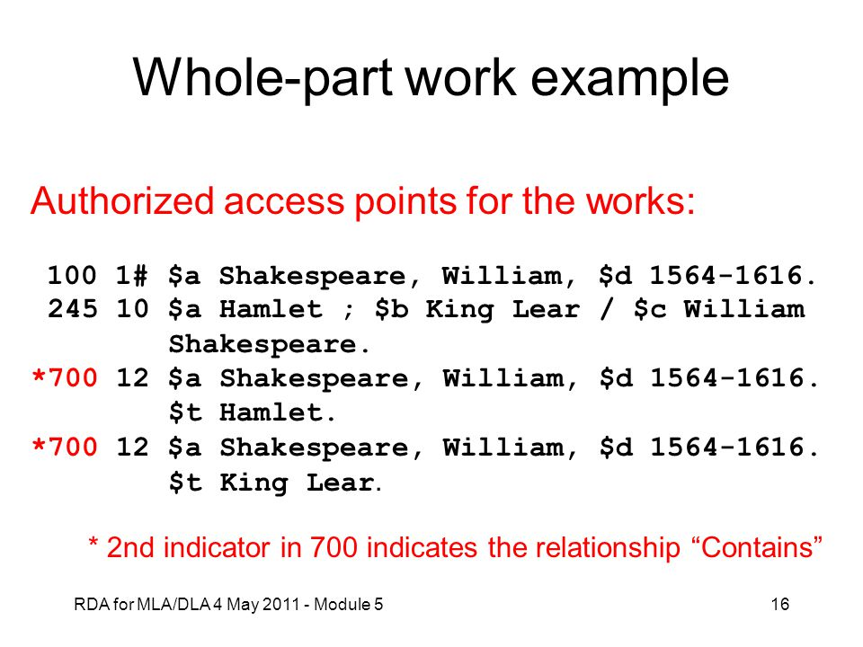 Whole-part work example
