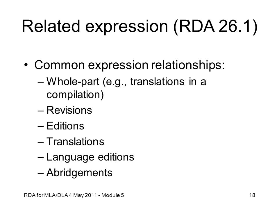 Related expression (RDA 26.1)