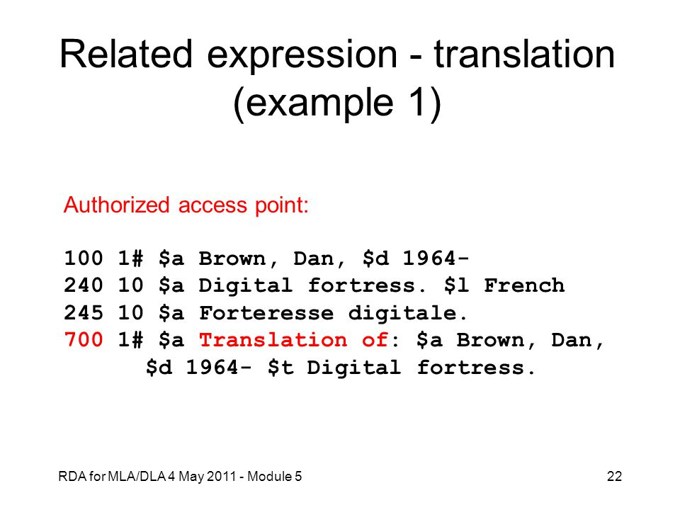 Related expression - translation (example 1)