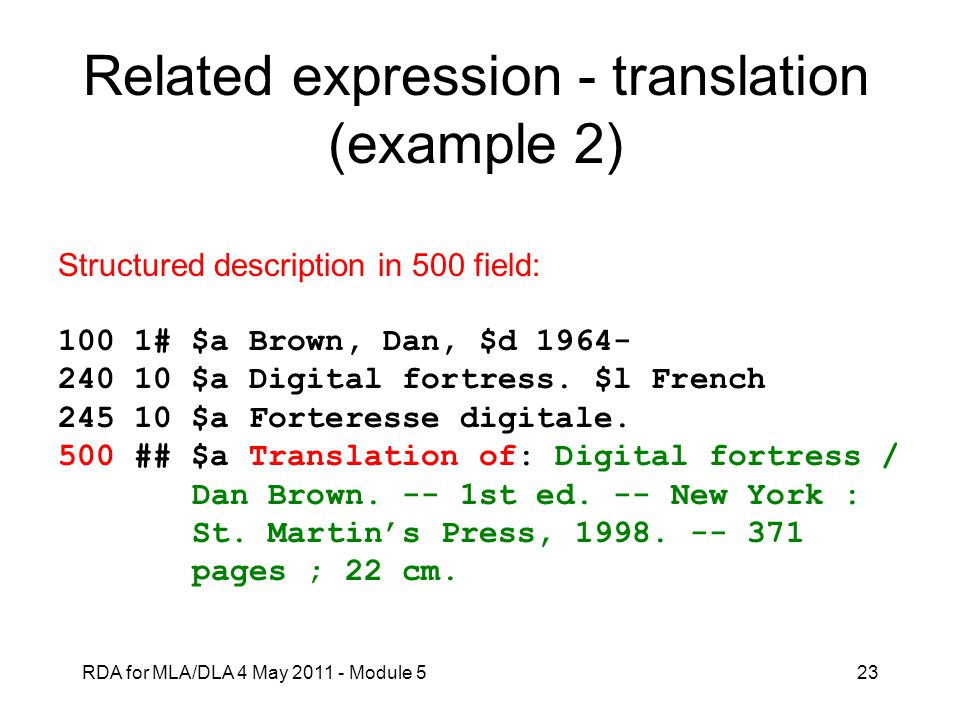 Related expression - translation (example 2)