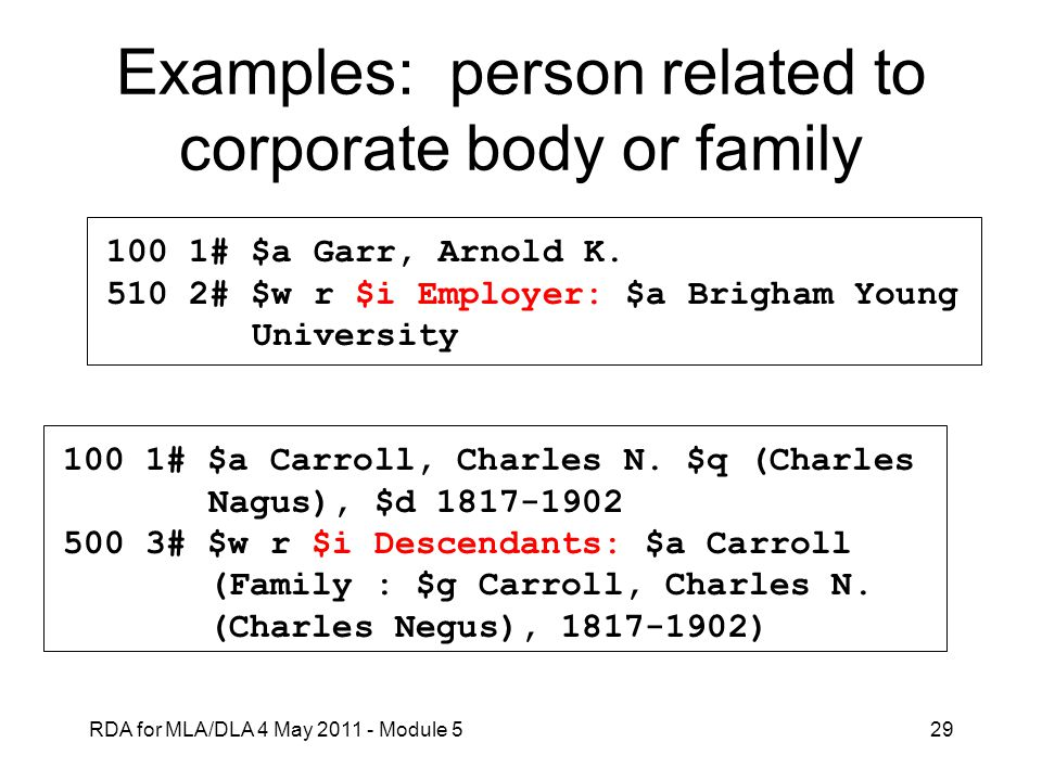 Examples: person related to corporate body or family