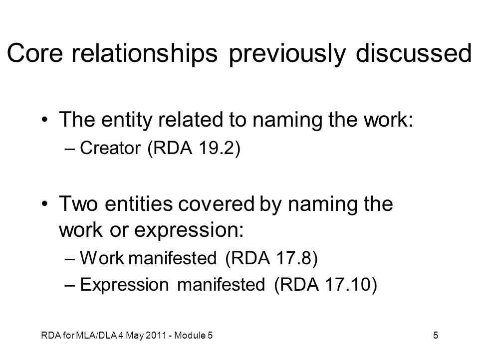 Core relationships previously discussed