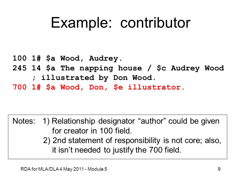Example: contributor 100 1# $a Wood, Audrey.