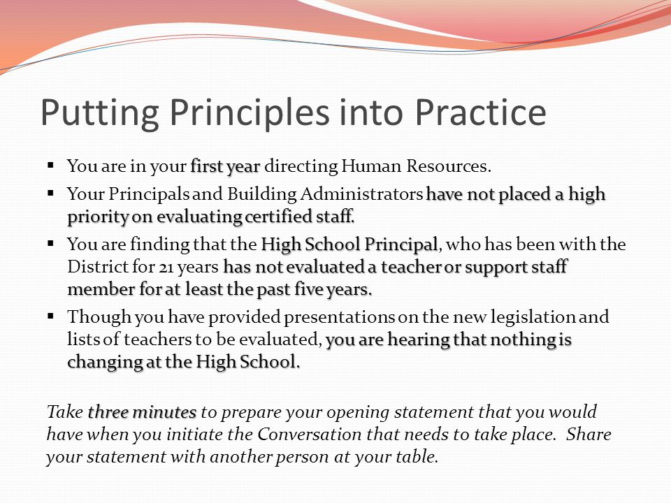 Putting Principles into Practice