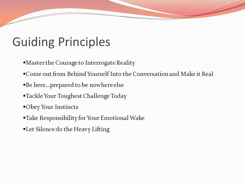 Guiding Principles Master the Courage to Interrogate Reality