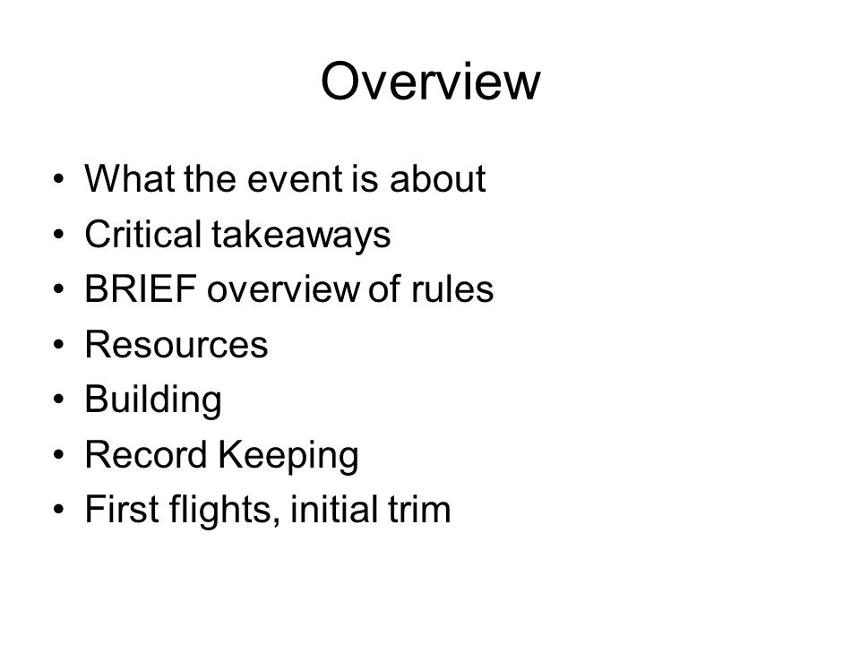 Overview What the event is about Critical takeaways