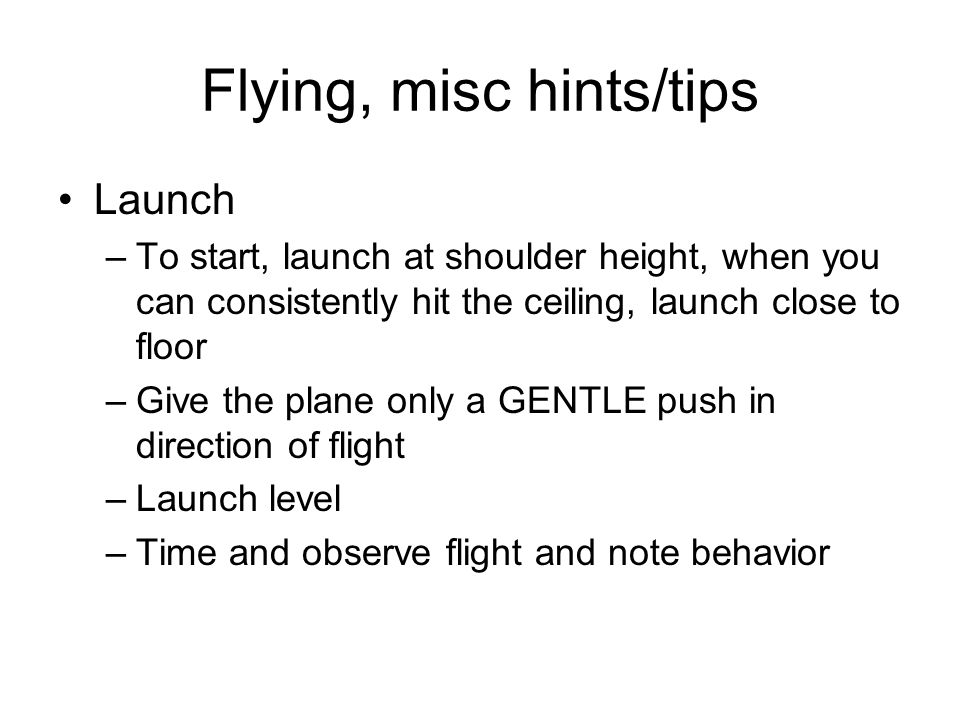 Flying, misc hints/tips