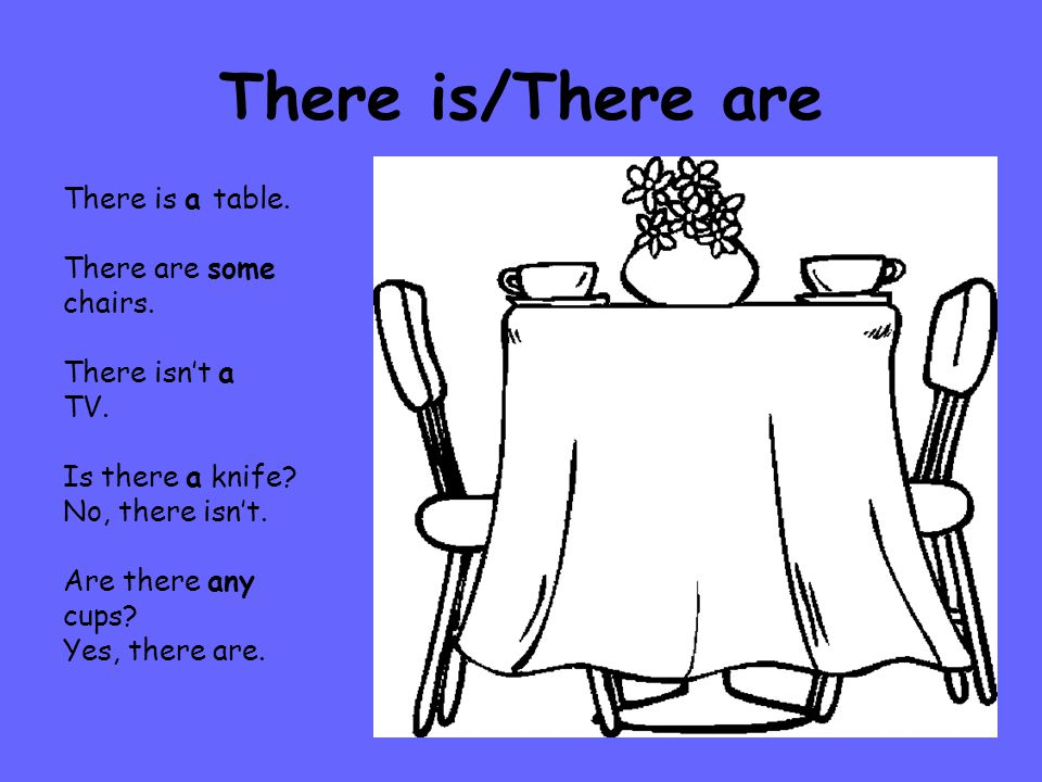 There is/There are There is a table. There are some chairs.