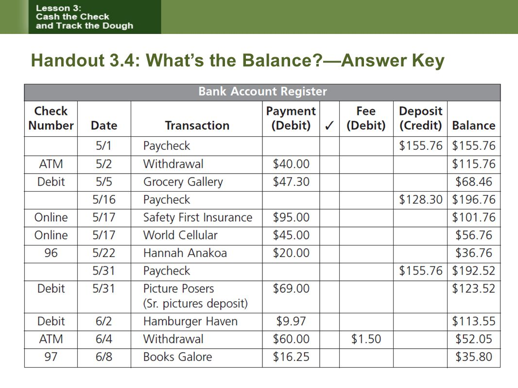 Handout 3.4: What's the Balance —Answer Key