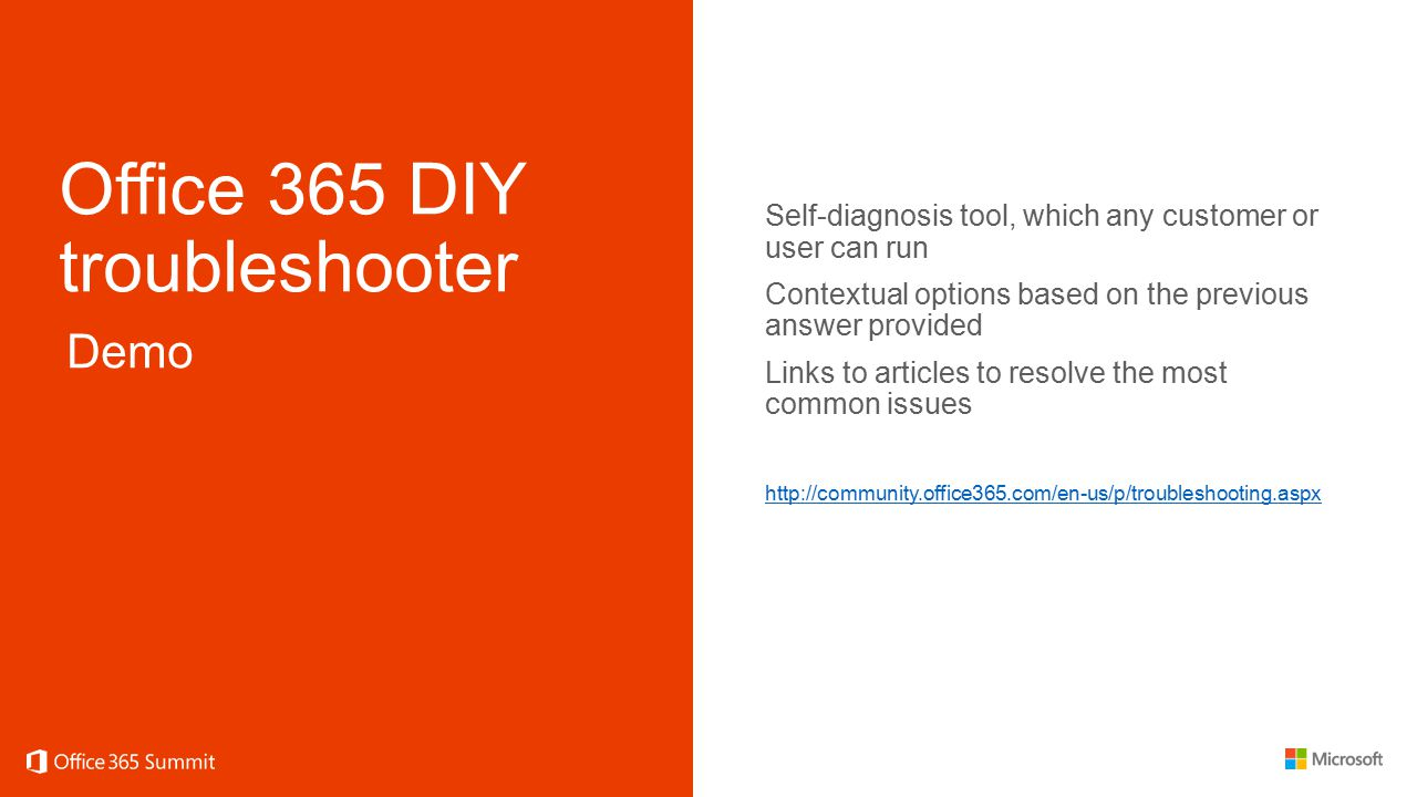 Office 365 DIY troubleshooter