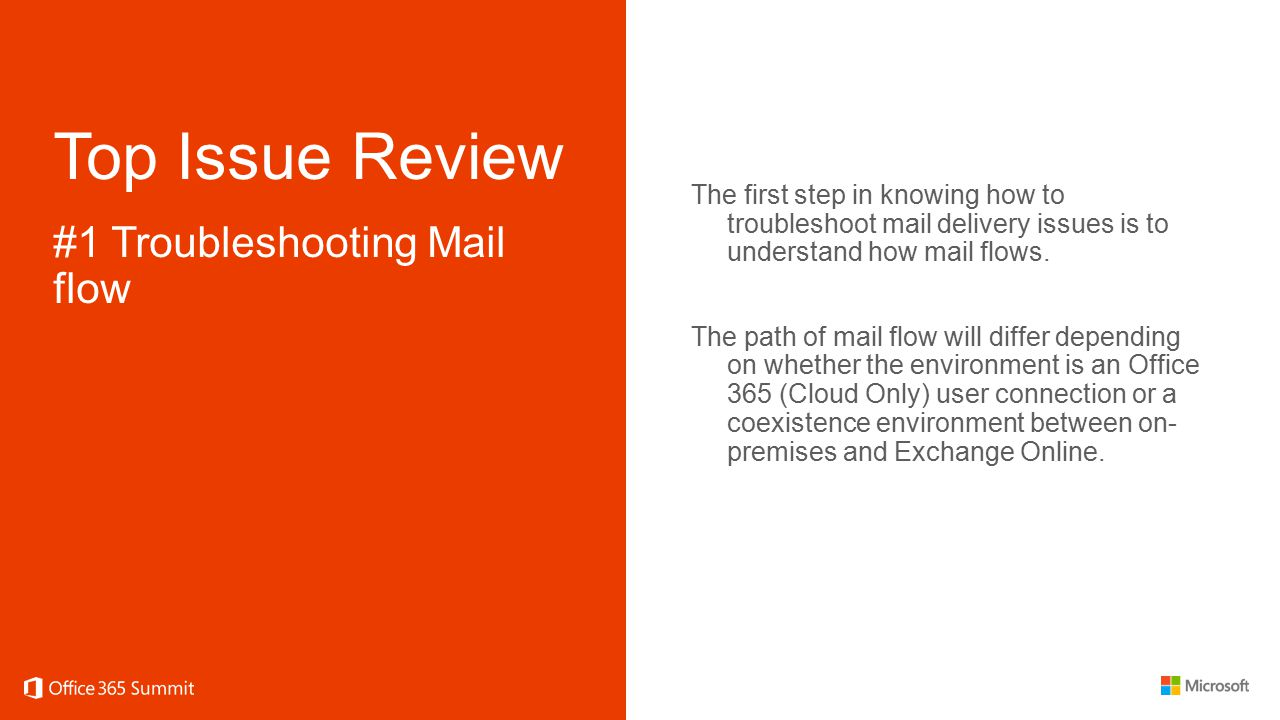 Top Issue Review #1 Troubleshooting Mail flow