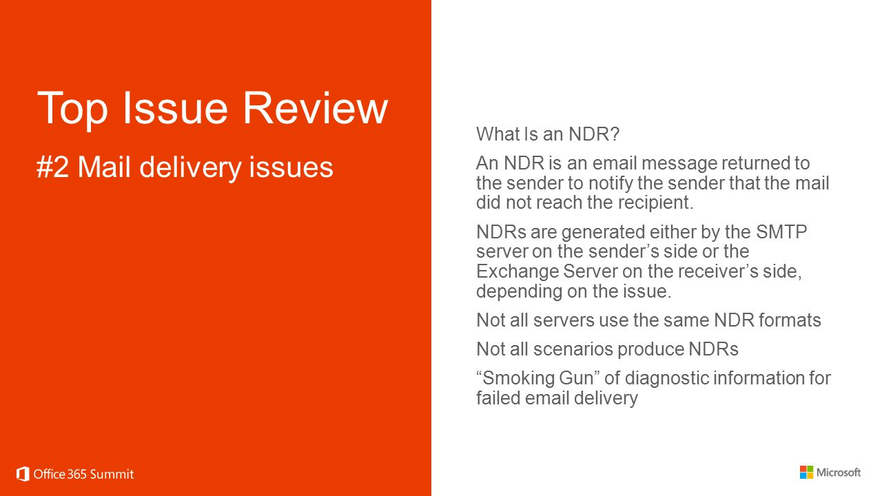 Top Issue Review #2 Mail delivery issues What Is an NDR