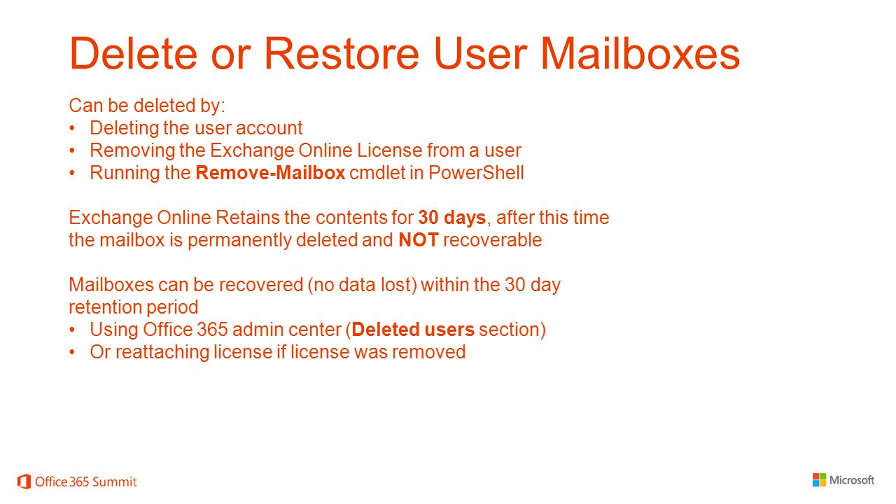 Delete or Restore User Mailboxes