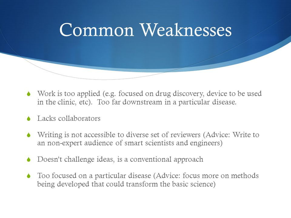 Common Weaknesses