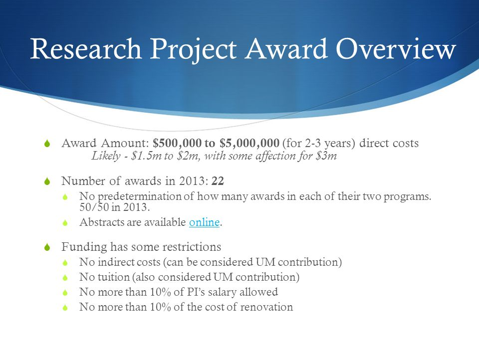 Research Project Award Overview
