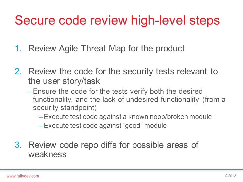 Secure code review high-level steps
