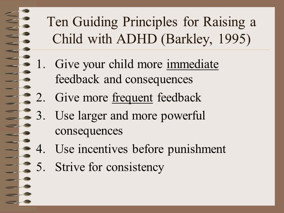 Ten Guiding Principles for Raising a Child with ADHD (Barkley, 1995)