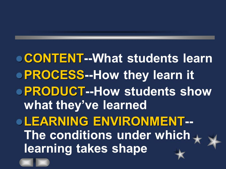 CONTENT--What students learn PROCESS--How they learn it