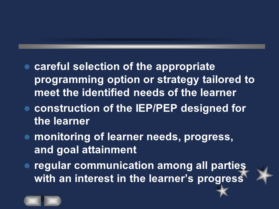 construction of the IEP/PEP designed for the learner