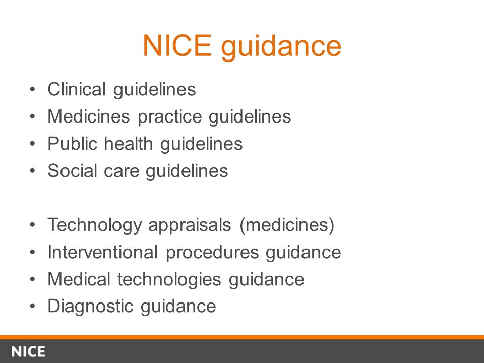 NICE guidance Clinical guidelines Medicines practice guidelines