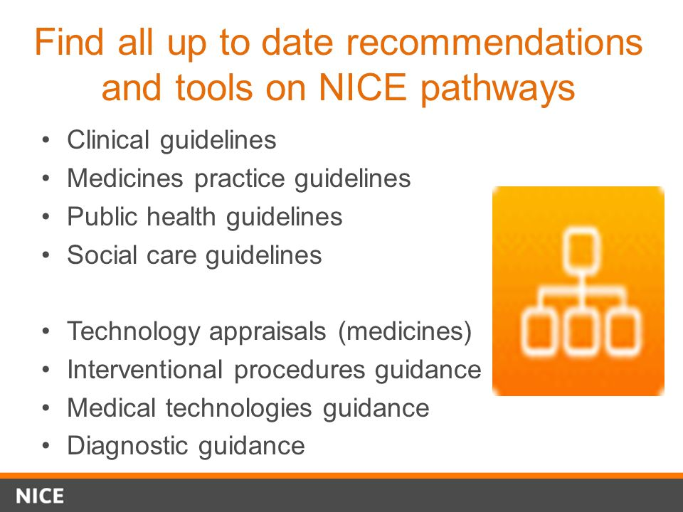 Find all up to date recommendations and tools on NICE pathways