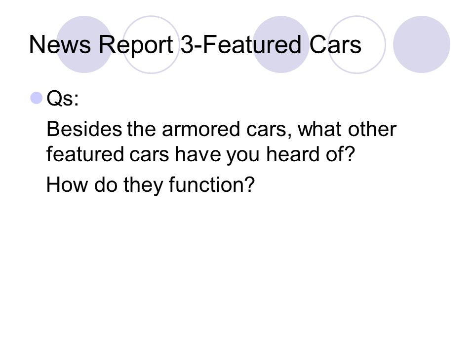 News Report 3-Featured Cars
