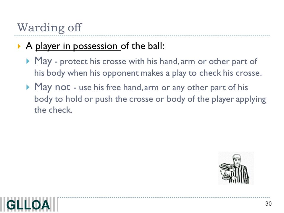 Warding off A player in possession of the ball: