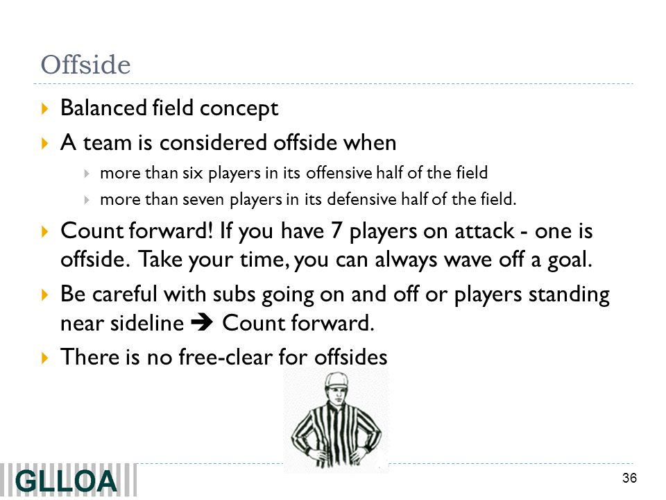 Offside Balanced field concept A team is considered offside when